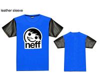 brand Neff leather sleeve t-shirt fashion hip hop sport short t shirts for mens new design print tee shirts summer clothing