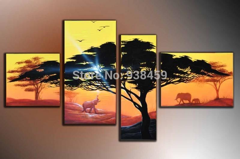 100% pintado à mão emoldurado 4 painéis do sol pintura de paisagem enorme pintura da lona arte da parede Decoraction(China (Mainland))