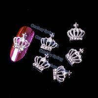 5pcs/pack 3D Crown Silver Alloy Rhinestones Nail Art Decorations DIY