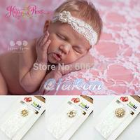 New Coming Baby Photography Props Baby Girl Christening Baptism Headband Newborn Lace Rhinestone Headband