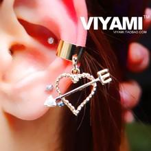 Japan Hot Heart Love Cupid no pierced ears pierced ear bone clip on earrings Harajuku Korean