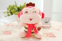 Free shipping mini size monkey plush toy scarf monkey doll 18cm size Christmas gift