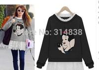 2014 Hitz large yard plus fertilizer thick loose sweater embroidered waist printing fake two dress 1284