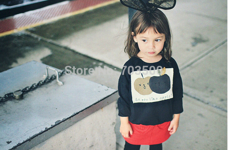 New Baby Girl Fall Cute Apple Pattern Top , Kids Casual T-shirt 5 pieces/lot, Wholesale, Free Shipping(China (Mainland))