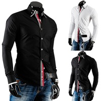 Free shipping 2014 new winter men's personality color placket striped webbing hit casual long-sleeved shirt
