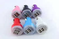 Dual USB Car Charger 2-Ports For iPad Mobile Phone 5V 2.1A/1A Random Color Shipping