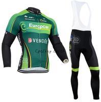 Free shipping! Europcar 2014 green Winter long sleeve clothes cycling jersey+bib pants bike bicycle thermal fleeced wear set