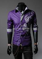 Autumn New Men shirts Chinese style dragon design shirts Men Slim print Casual shirts 4color