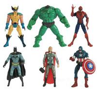 6pcs/lot The Avengers Action Mini Figures toys Hulk Wolverine Batman Spiderman captain america shield Thor