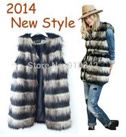 2014 New Arrival Stripe Women Fashion V-Neck Long Faux Fur Vest Sleeveless Style Outwear Gilet Black