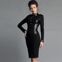 women work wear new  sexy slim fit elegant autumn winter dress black blue PU patchwork thickening british bodycon dress
