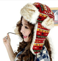 One pcs Free Shipping Women Thickening Winter Cap Faux Fur Domo Customs Wool Weaved Pattern Bomber Hats Fur Fox Ear Cap CP049