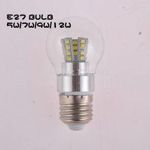 e27 led-licht smd5730 2835 glühlampe silber 5w 4w 6w 7w 9w 12w ac220v 230v 240v aluminiumgehäuse 360 voll licht(China (Mainland))
