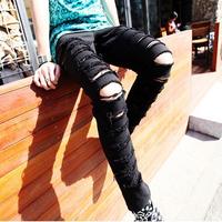 2014 new fashion black hole ripped jeans for men slim skinny jeans for men denim pencil baggy pants harem