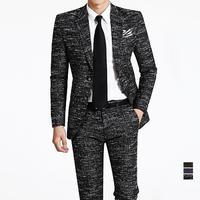 100% High quality Wool Fashion brand Men suits slim ( Jacket + pants ) men's groom dress suit