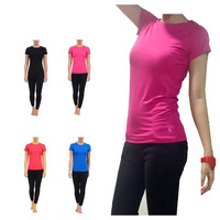 Women's professional sports running shirt short-sleeve T-shirt elastic perspicuousness quick-drying straitest fitness