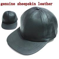 2014 winter genuine sheepskin black leather baseball caps  hip hop hat  cap sports snapback hats for  Mens  wholesale