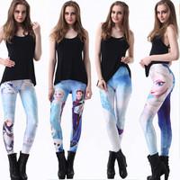 2014 Hot Frozen Print Leggings New Women Winter Leggings Thick Slim high waist fashion Joggers Fitness Pants Gym clothes J-29