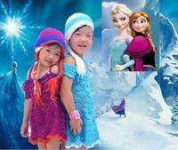 2014 Cute Kids Children Beanie Girl Winter hat Casual Elsa Anna Fashion Cartoon Frozen Knitted Wool Cap Skullies Beanies Hats