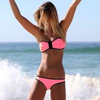 Wholesale Free Shipping Women's Sexy Neoprene Zipper Swimwear Bandeau Bikini Bath Suit DYYY-0374