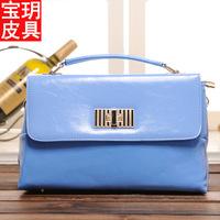 2014 new lady fashion PU shoulder diagonal cross-section light leather bag handbag brand handbags