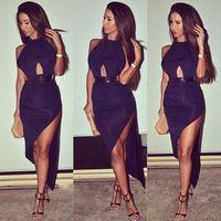 New Fashion 2014 Women Elegant Black Bandage Slit Dress With Belt Slim Bodycon Sexy Hollow out Midi Evening Dresses NTDR-1153