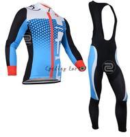 Free shipping! Castelli 2014 #7 long sleeve autumn bib cycling wear clothes bicycle bike cycling jersey bib pants set+gel pad
