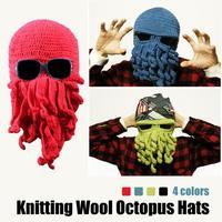 Hot Aliexpress Novelty Handmade Knitting Wool Funny Beard Octopus Hats Caps Crochet Knight Beanies For Men Unisex Gift ZFC317