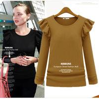 new 2014 tunic winter blusas women's t-shirt tops for women crochet blouse camisetas long sleeve pullover t shirt 100% cotton