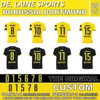 TOP A+++ FREE SHIPPING 2015 Germany Dortmund home away soccer jerseys Top Original Thailand Quality yellow black KAGAWA REUS