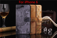World Map Leather case for iphone 6, Folio Card slots Stand Wallet Leather cover case for iphone 6