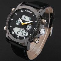 Luxury  brand Men Sports Military army  Wristwatches Dual time Digital Analog Quartz Watch leather strap Relogio Masculino