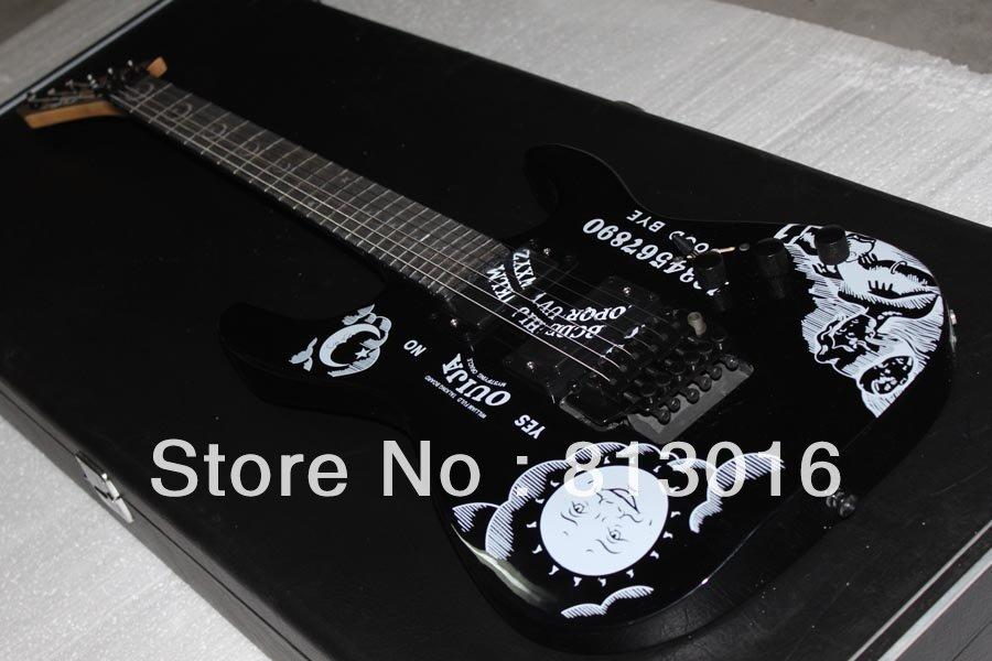 Musical Instruments guitars KH-2 Kirk Hammett Ouija black electric guitar ,Free shipping!!!(China (Mainland))