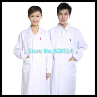 Free Shipping Thickening standard doctor clothing long-sleeve nurse clothing physician services lab coat white coat