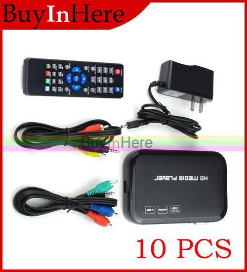 10X Full HDMI HD 1080P Media Center Player Input Sd Usb Hdd Output Av Vga RM RMVB AVI MPEG4 TV Divx Mp4 H.264 Mkv Music Movie(China (Mainland))