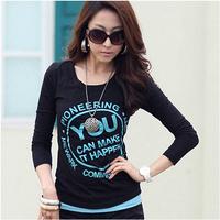 women long sleeve t shirt 2014 Fashion Blusinha Vogue tunic letter printcotton brand woman t shirt ladies tops shirt for women