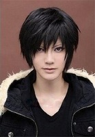 2014 New Fashion Anime boy with short hair Wig Tomb notes Black cosplay wigs human hair wig Free Shipping