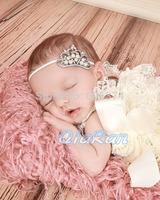 New Hot Sake Crystal Pearl Baby Girl Crown Headband Newborn Infant Tiara Thin Headband Photo Props Princess Headband