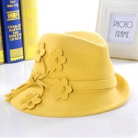 Wholesale 6pcs 2014 Style Women Winter Wool Fedora Fashion Ladies Wool Felt Hats Womens Fall Trilby Hat Lady Spring Fedoras Caps