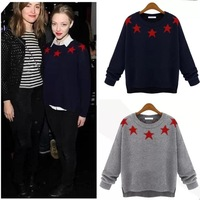 new 2014 autumn and winter sweaters Pentagram star jacquard knit pullover printed 2 color tops sweater