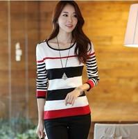 2014 new fashion t shirt women clothing ladies tops tee clothes blouses t-shirt long sleeve Korean type Striped vetement femme