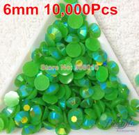 J10 Jelly green AB Color 6mm 10000PCS 14 cutting Machine Cut Rhinestone Flatback Silver Foil COLOR  FREE SHIPPING