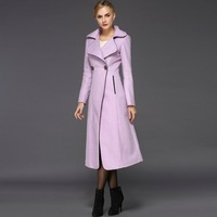 2014 New arrival women's autumn long trench coat double-breasted wool jacket plus size female winter jacket long overcoat