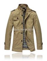 2014 Winter NEW brand Hot men jacket overcoat fashion Mandarin collar Spring Autumn men's coat solid clothes outerwear Jacket