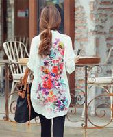 Women Chiffon Blouse Korean Leisure BF Style Shirt Long Sleeve Back Colorful Floral Print Big Size Blusas Top Wholesale T11-64