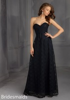 Elegant 2015 Lace Sweetheart Neck Sleeveless A-Line Ruched Bust Covered Button Floor Length Formal Evening Gowns