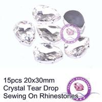 Crystal Clear 15pcs 20x30mm Tear Drop Flatback Sewing On Rhinestones For Design