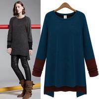 Women's European Contrast Color Irregular Hem Round Collar T-shirt Soft Shirt Woman Clothing Long Sleeve Tee Drop Ship T11-74