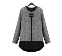 2014 Fashion European and American Unique Design Women Chiffon Splice Blouse PU Buttons Shirts Tops Casual Ladies tshirts T11-71