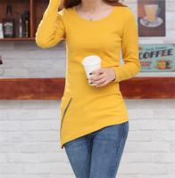 New 2014 Fashion Women Clothing Sexy Tops Long Sleeve Slim O-neck Zipper Decorate Hem T-Shirt Women tshirt T11-69